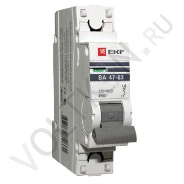 Выключатель автоматический, однополюсный ВА 47-63,1P 10А (С) 4,5kA EKF PROxima