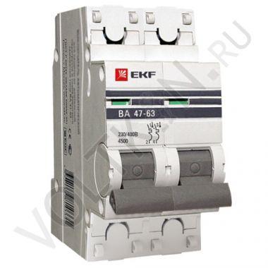Выключатель автоматический, двухполюсный ВА 47-63,2P 20А (С) 4,5kA EKF PROxima