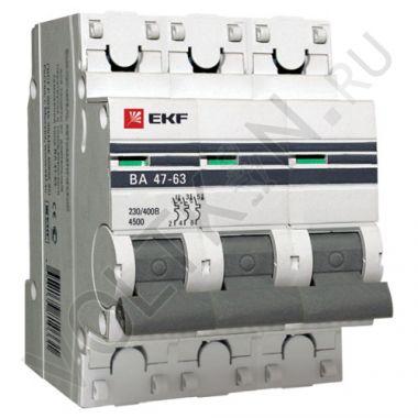 Выключатель автоматический, трехполюсный ВА 47-63,3P 10А (С) 4,5kA EKF PROxima