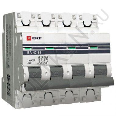 Выключатель автоматический, четырехполюсный ВА 47-63,4P 20А (С) 4,5kA EKF PROxima