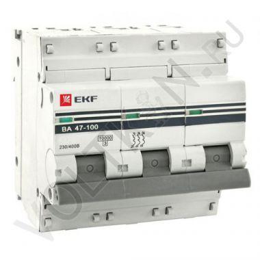 Выключатель автоматический, трехполюсный ВА 47-100, 3P 80А (С) 10kA EKF PROxima