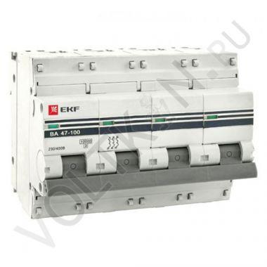 Выключатель автоматический, четырехполюсный ВА 47-100, 4P 100А (С) 10kA EKF PROxima