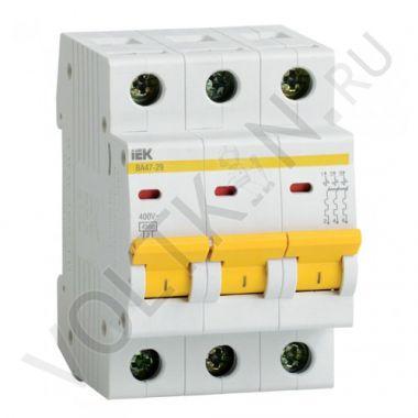Выключатель автоматический, трехполюсный ВА 47-29, 3P 63А (С) 4,5kA IEK