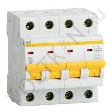 Выключатель автоматический, четырехполюсный ВА 47-29, 4P 50А (С) 4,5kA IEK