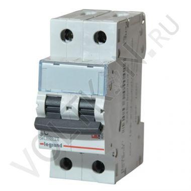 Выключатель автоматический, двухполюсный TX3 2P 25А С 6кА Legrand