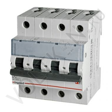 Выключатель автоматический, четырехполюсный TX3 4P 50А С 6кА Legrand