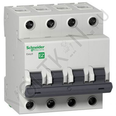 Выключатель автоматический, четырехполюсный Easy9 4P 25А С 4,5кА Schneider Electric