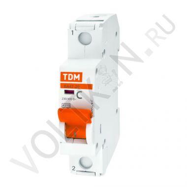 Выключатель автоматический, однополюсный ВА47-29 1P 16А (C) 4,5kA TDM