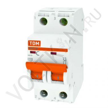 Выключатель автоматический, двухполюсный ВА47-29 2P 25А (C) 4,5kA TDM