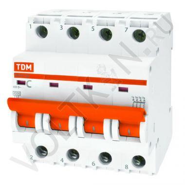 Выключатель автоматический, четырехполюсный ВА47-29 4P 25А (C) 4,5kA TDM