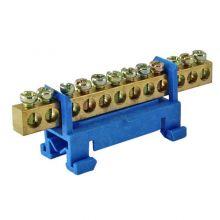 Шина N нулевая 12 групп с изолятором на DIN-рейку 6х9 стойка TDM