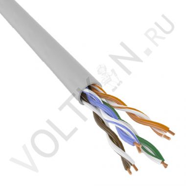 Кабель UTP 4PR 24AWG Cat. 5e (витая пара) PVC серый Паритет