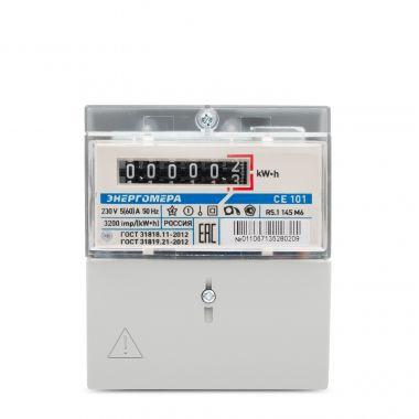 Счетчик электроэнергии Энергомера СЕ101 R5.1 145 M6 1 фазный, 1 тарифный, Эл.мех (5-60А)