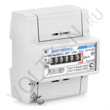 Счетчик электроэнергии Энергомера СЕ101 R5 145 M6 1 фазный, 1 тарифный, Эл.мех (5-60А)