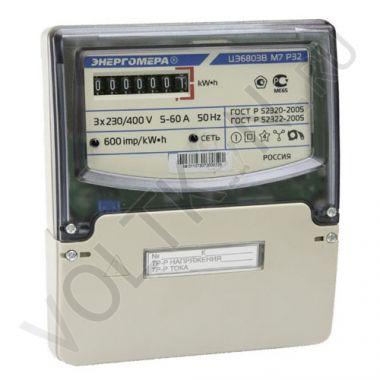 Счетчик электроэнергии Энергомера ЦЭ6803В М7 Р32 3х фазный, 1 тарифный, Эл.мех (5-60А)