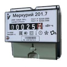 Счетчик электроэнергии Меркурий 201.7 1 фазный, 1 тарифный, Эл.мех (5-60А)