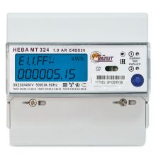 Счетчик электроэнергии Нева MT 324 1.0 AR E4BS26 3-фазный, многотарифный, ЖКИ (5-60А) Тайпит