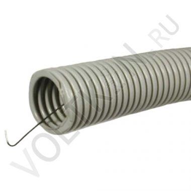 Труба гофрированная ПВХ d32 мм серая, легкая, с протяжкой Промрукав