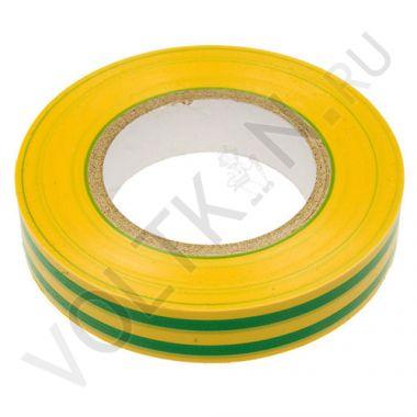 Изолента ПВХ 130х15х18 желто-зеленая, глянцевая ПолимерПак