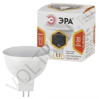 Лампа светодиодная LED 6W GU5.3 MR16 2700К Эра