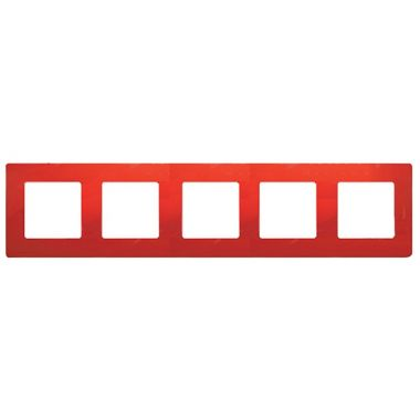 Рамка Etika 5 постов, красный Legrand
