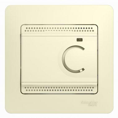 Термостат электронный теплого пола с датчиком от +5 до +50°C 10A в сборе Glossa, бежевый Schneider Electric