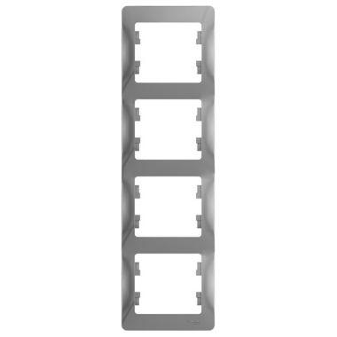 Рамка Glossa 4-постовая, вертикальная, алюминий Schneider Electric