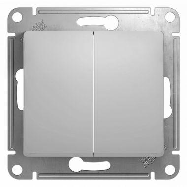 Выключатель 2-клавишный 10А механизм Glossa, алюминий Schneider Electric