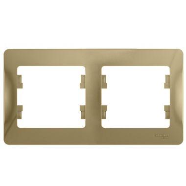 Рамка Glossa 2-постовая, горизонтальная, титан Schneider Electric