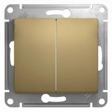Двухклавишный выключатель 10А механизм Glossa, титан Schneider Electric