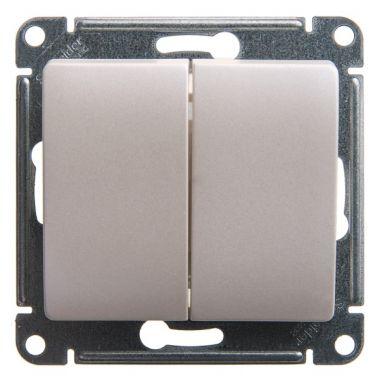 Двухклавишный выключатель 10А механизм Glossa, перламутр Schneider Electric
