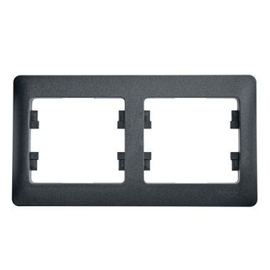 Рамка Glossa 2-постовая, горизонтальная, антрацит Schneider Electric