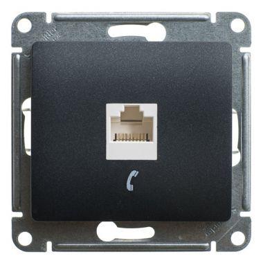 Розетка телефонная RJ11 механизм Glossa, антрацит Schneider Electric