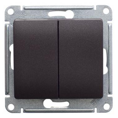 Переключатель 2-клавишный 10А механизм Glossa, шоколад Schneider Electric