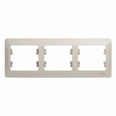 Рамка Glossa 3-постовая, горизонтальная, молочный Schneider Electric