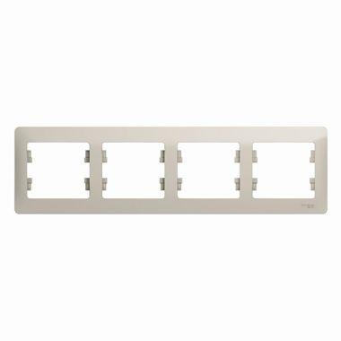 Рамка Glossa 4-постовая, горизонтальная, молочный Schneider Electric