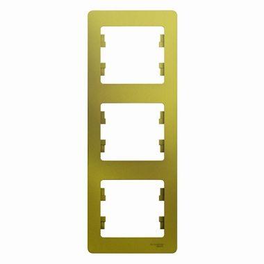 Рамка Glossa 3-постовая, вертикальная, фисташковый Schneider Electric