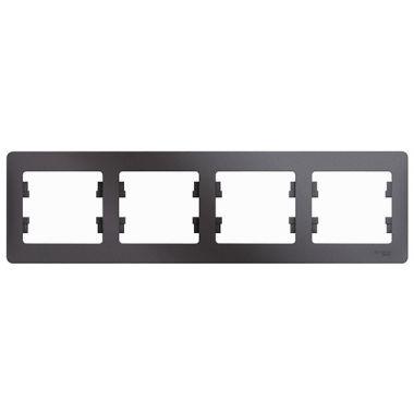 Рамка Glossa 4-постовая, горизонтальная, графит Schneider Electric
