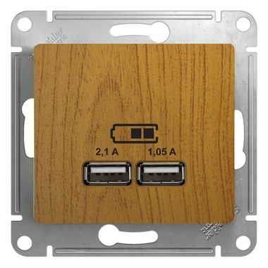Зарядка USB 5В/2100мА 2х5В/1050мА механизм Glossa, дерево дуб Schneider Electric
