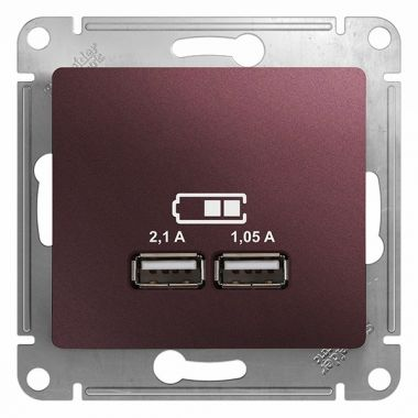 Зарядка USB 5В/2100мА 2х5В/1050мА механизм Glossa, баклажановый Schneider Electric