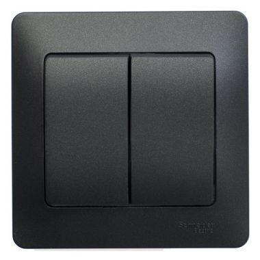 Выключатель 2-клавишный 10A в сборе Glossa, антрацит Schneider Electric