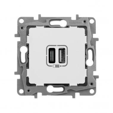 Зарядное устройство с двумя USB-разьемами тип A-С 240В/5В 3000мА Etika белый Legrand