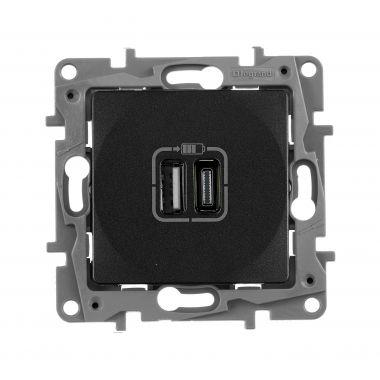 Зарядное устройство с двумя USB-разьемами тип A-С 240В/5В 3000мА Etika антрацит Legrand
