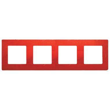 Рамка Etika 4 поста, красный Legrand