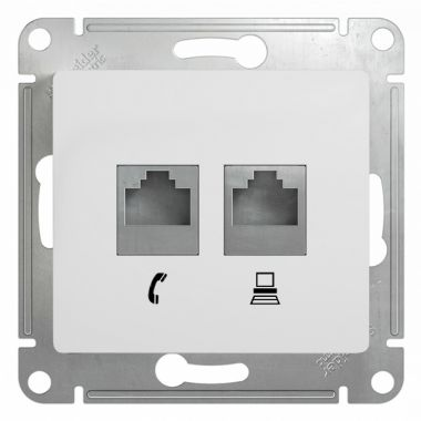 Розетка 2я RJ11+RJ45 кат.5E механизм Glossa, белый Schneider Electric