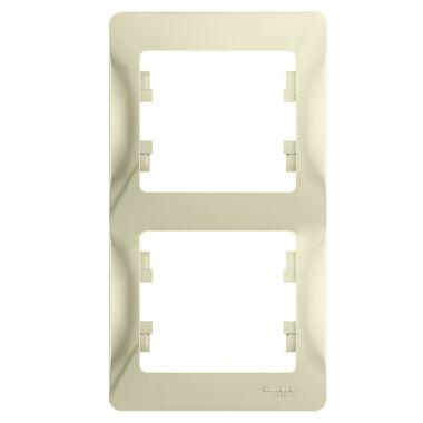 Рамка Glossa 2-постовая, вертикальная, бежевый Schneider Electric