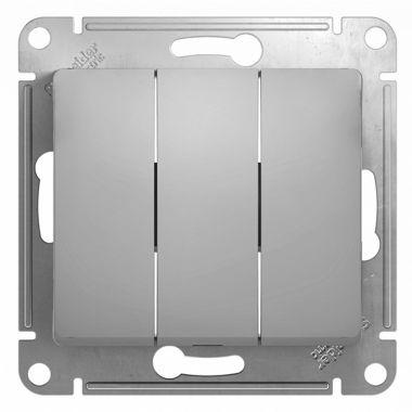 Выключатель 3-клавишный 10А механизм Glossa, алюминий Schneider Electric