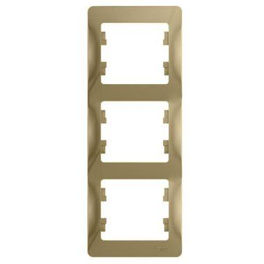 Рамка Glossa 3-постовая, вертикальная, титан Schneider Electric