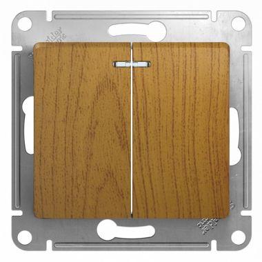 Выключатель 2-клавишный с подсветкой 10А механизм Glossa, дерево дуб Schneider Electric