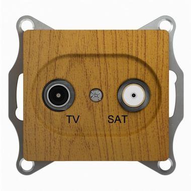 Розетка TV-SAT оконечная 1DB механизм Glossa, дерево дуб Schneider Electric